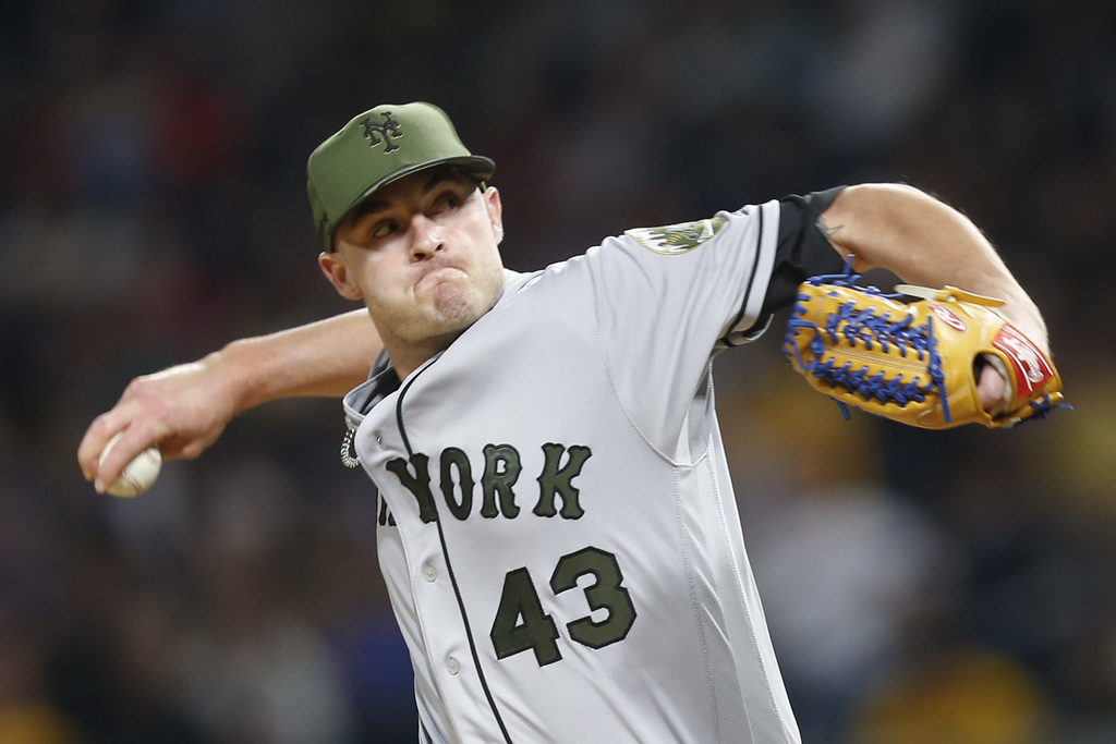 FILE - In this May 27, 2017, file photo, New York Mets relief pitcher Addison Reed pitches against the Pittsburgh Pirates in a baseball game, in Pitts...