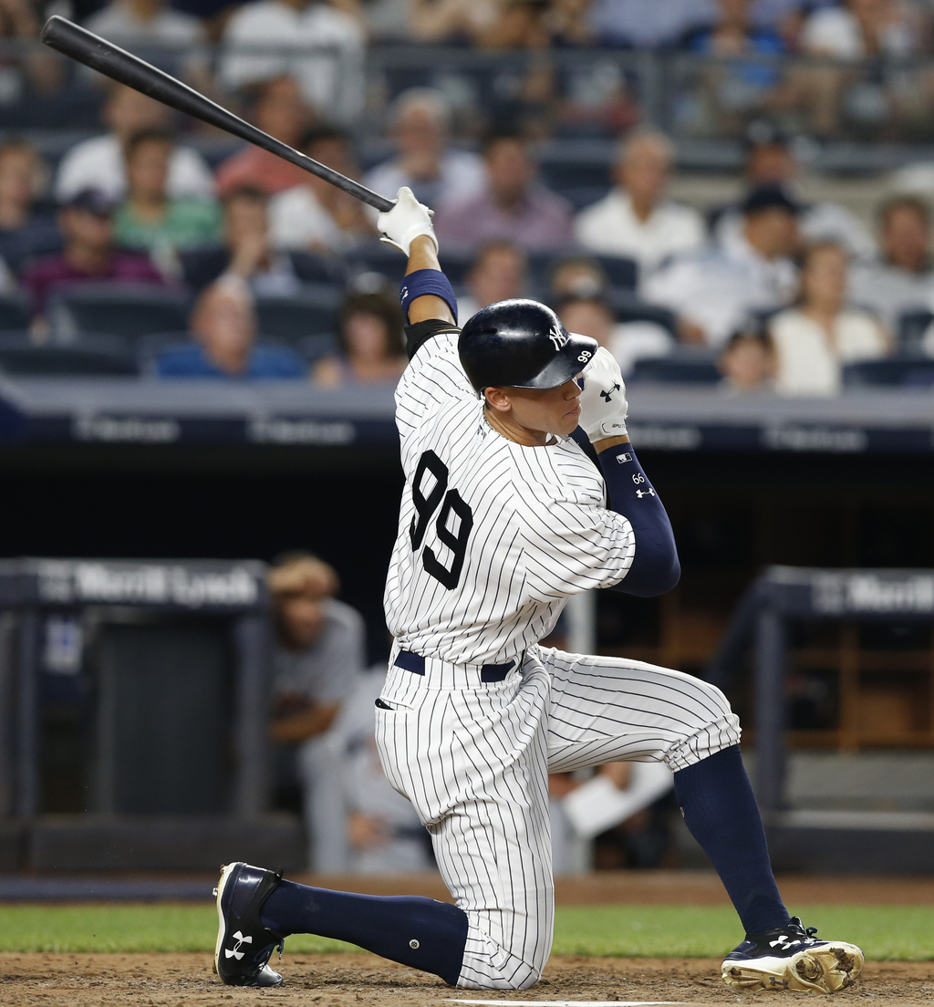 New York Yankees' Aaron Judge strikes out during the fifth inning of the team's baseball game against the Detroit Tigers at Yankee Stadium in New York...