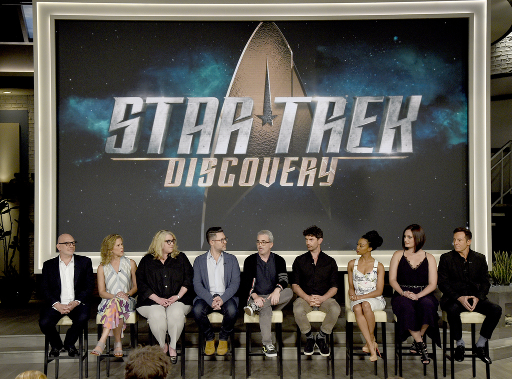 Executive producers Akiva Goldsman, from left, Heather Kadin, Gretchen Berg, Aaron Harberts and Alex Kurtzman and actors James Frain, Sonequa Martin-G...