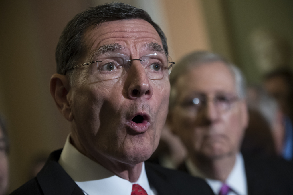 Sen. John Barrasso, R-Wyo., left, joined by Senate Majority Leader Mitch McConnell of Ky., speaks during the first news conference since the Republica...