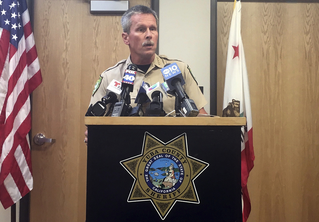 Yuba County Sheriff Steven Durfor speaks to the media after a shooting in Marysville, Calif., Tuesday, Aug. 1, 2017. Two California sheriff's deputies...