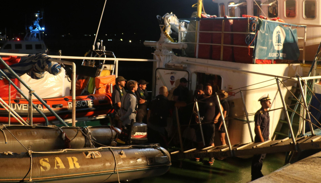The Iuventa Ship of the German NGO Jugend Rettet is docked at Lampedusa' harbor, Italy, early Wednesday, Aug. 2, 2017.  The German NGO migrant rescue ...