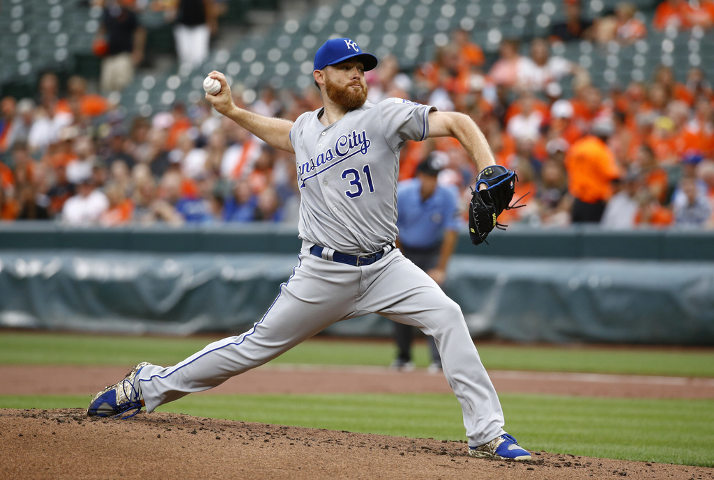 Kansas City Royals starting pitcher Ian Kennedy throws to the Baltimore Orioles in the first inning of a baseball game in Baltimore, Tuesday, Aug. 1, ...