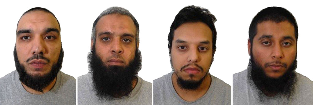 A composite of four undated images issued Wednesday Aug.2, 2017, by Britain's West-Midlands Police, showing left to right: Tahir Aziz, Naweed Ali, Moh...
