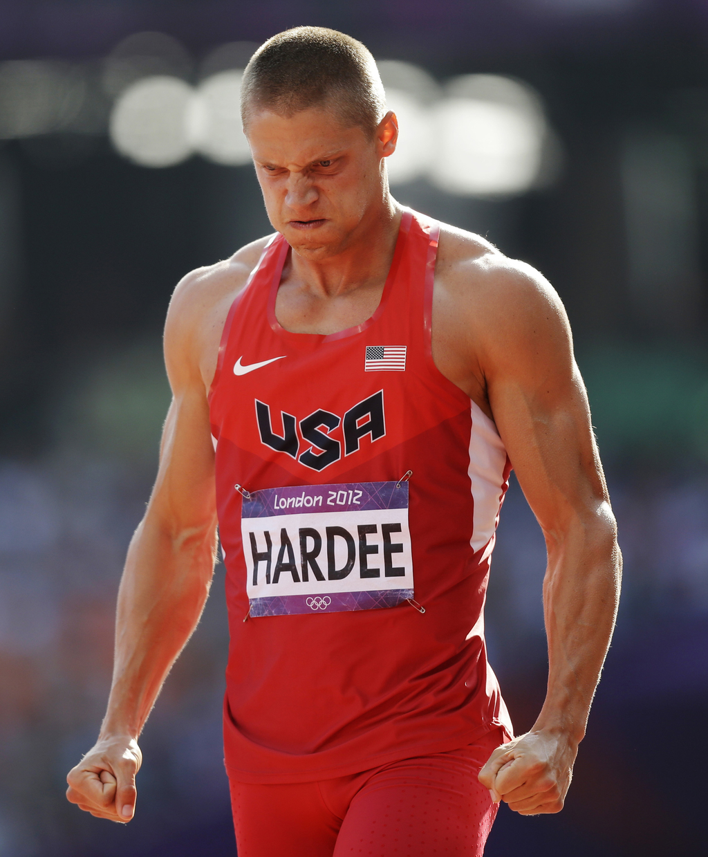 FILE - In this Aug. 9, 2012, file photo, United States' Trey Hardee reacts after competing in a 110-meter hurdles heat of the decathlon at the 2012 Su...