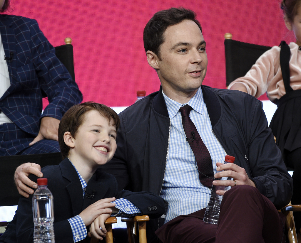"Iain Armitage, left, a cast member in the CBS series ""Young Sheldon,"" and executive producer/narrator Jim Parsons take part in a panel discussion duri..."