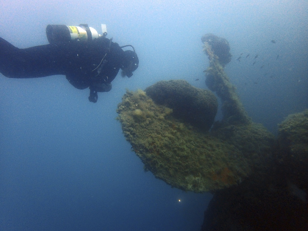 In this Tuesday, July 18, 2017 photo, maritime ecologist Derek Smith of the RPM Nautical Foundation observes a giant sponge coral growing on the prope...