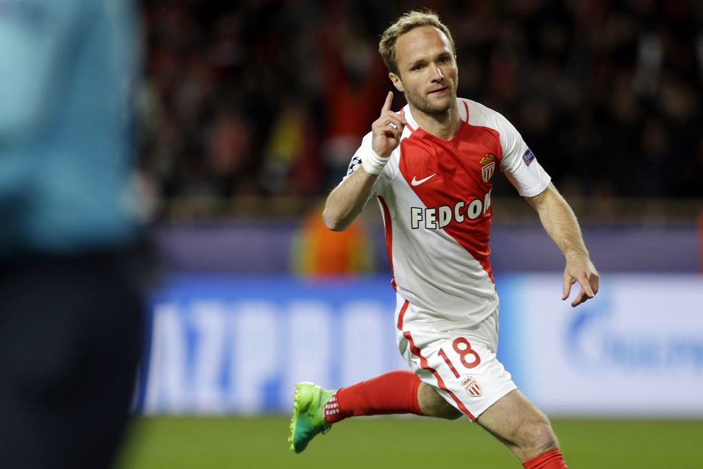 FILE - In this April 19, 2017 file photo, Monaco's Valere Germain celebrates after scoring his team's third goal during the Champions League quarterfi...