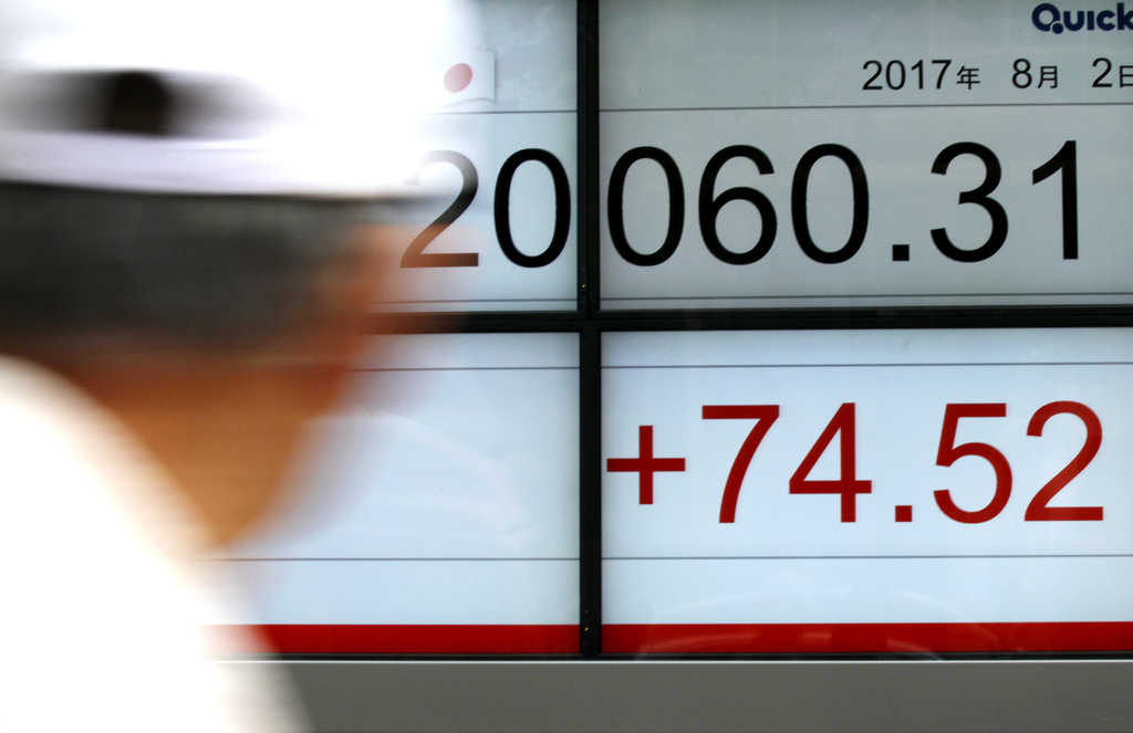 A pedestrian glances at an electronic stock board showing Japan's Nikkei 225 index at a securities firm in Tokyo, on Wednesday, Aug. 2, 2017.Asian st...