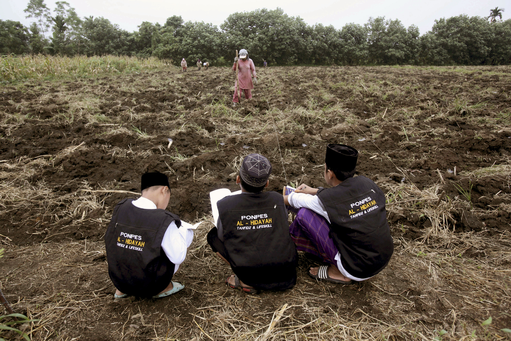 In this July 22, 2017, photo, students learn farming at Al Hidayah Islamic Boarding School in Sei Mencirim, North Sumatra, Indonesia. The school was f...