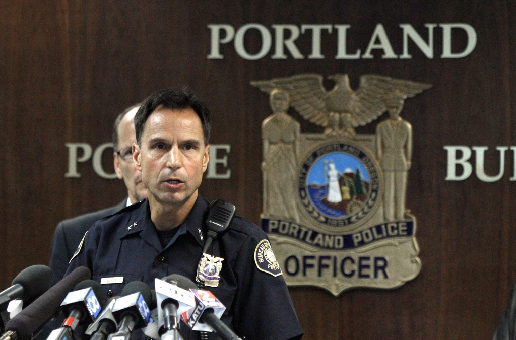 FILE--In this Sept. 13, 2012, file photo, Portland Sheriff Michael Reese speaks during a news conference at the Justice Center in Portland, Ore. Reese...