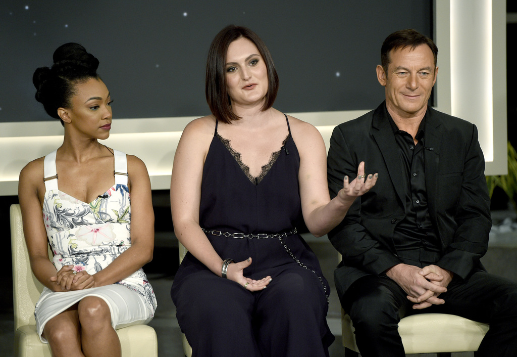 """Sonequa Martin-Green, from left, Mary Chieffo and Jason Isaacs participate in the """"Star: Trek Discovery"""" panel during the CBS Television Critics Assoc..."""