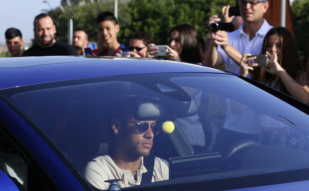 FC Barcelona's Neymar arrives at the Sports Center FC Barcelona Joan Gamper in Sant Joan Despi, Spain, Wednesday, Aug. 2, 2017. Neymar has arrived at ...