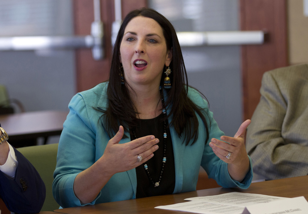 FILE - In this May 5, 2017, file photo, Republican National Committee Chairwoman Ronna Romney McDaniel addresses Hispanic business owners and communit...