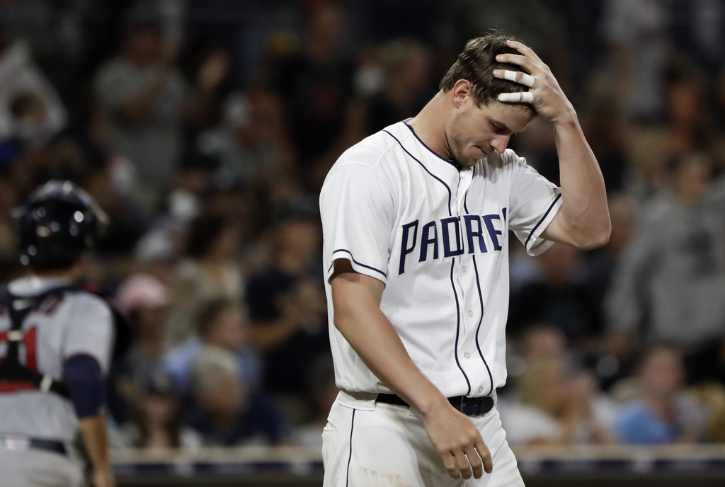 San Diego Padres' Wil Myers reacts after striking out to end the seventh inning during a baseball game against the Minnesota Twins Tuesday, Aug. 1, 20...