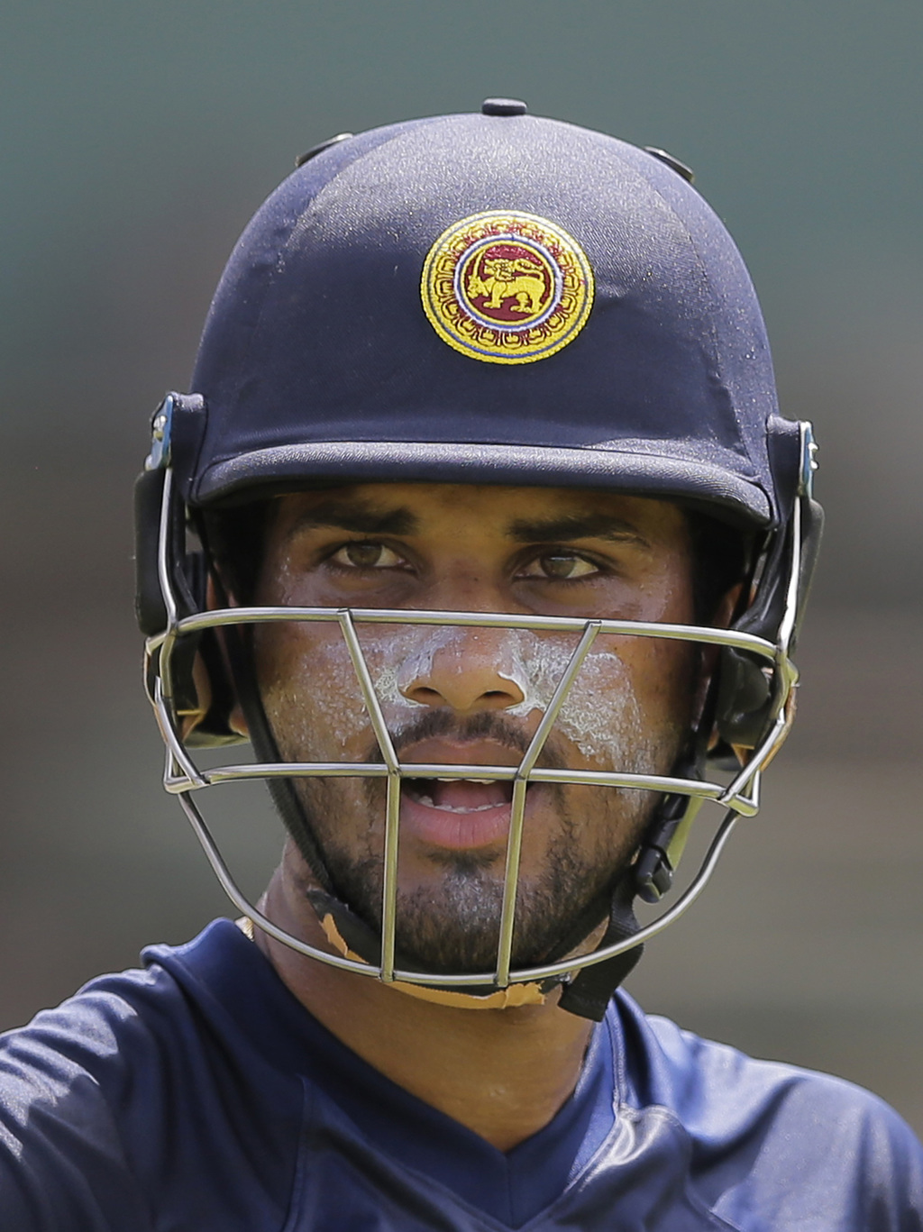Sri Lanka's test cricket captain Dinesh Chandimal attends a practice session ahead of their second test cricket match with India in Colombo, Sri Lanka...