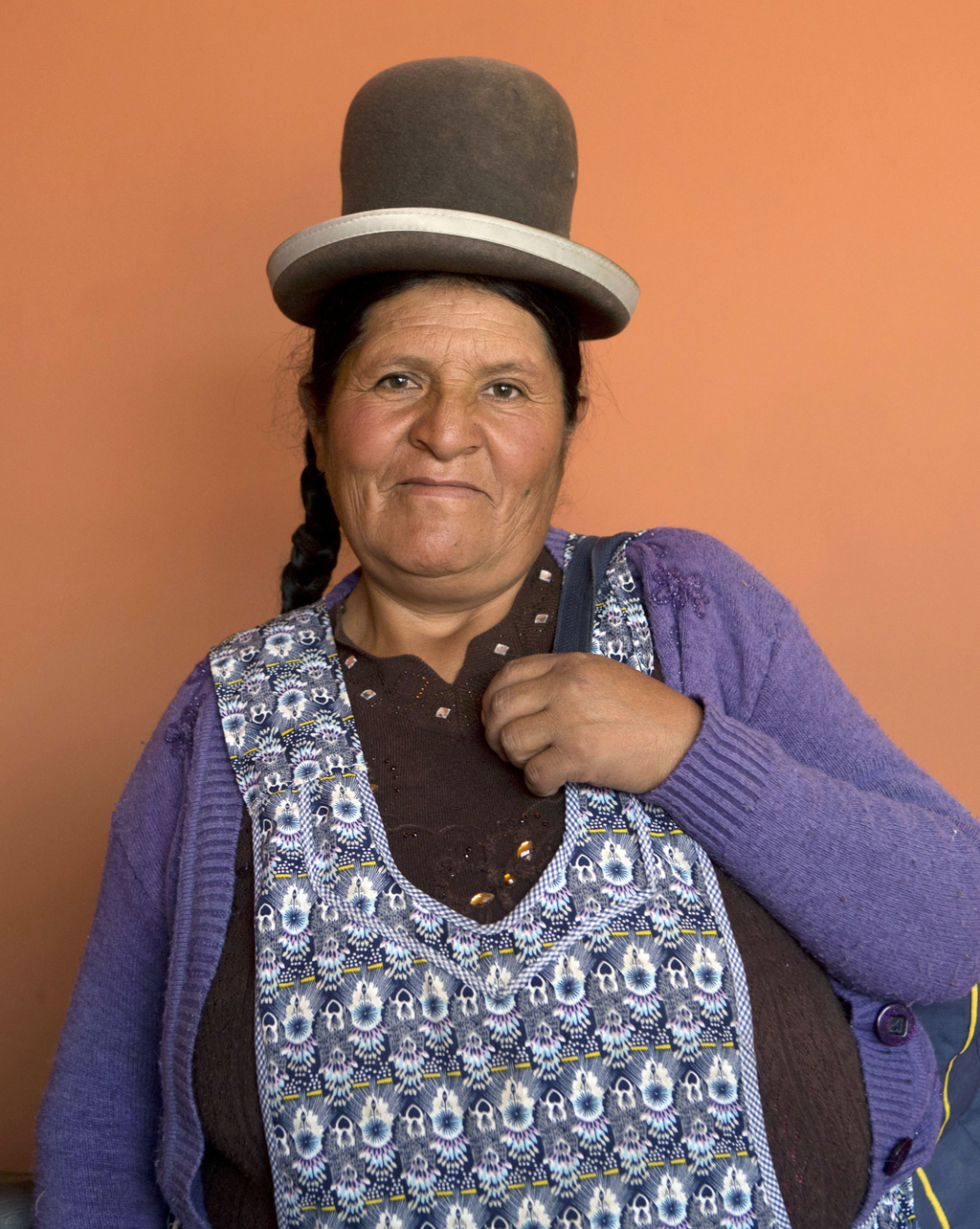 In this May 15, 2017 photo, midwife Daniela Vilca, 53, poses for a portrait at the Nila Heredia hospital in Patacamaya, Bolivia. The government's midw...