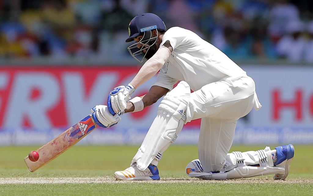 India's Lokesh Rahul plays a shot during their second cricket test match against Sri Lanka in Colombo, Sri Lanka, Thursday, Aug. 3, 2017. (AP Photo/Er...