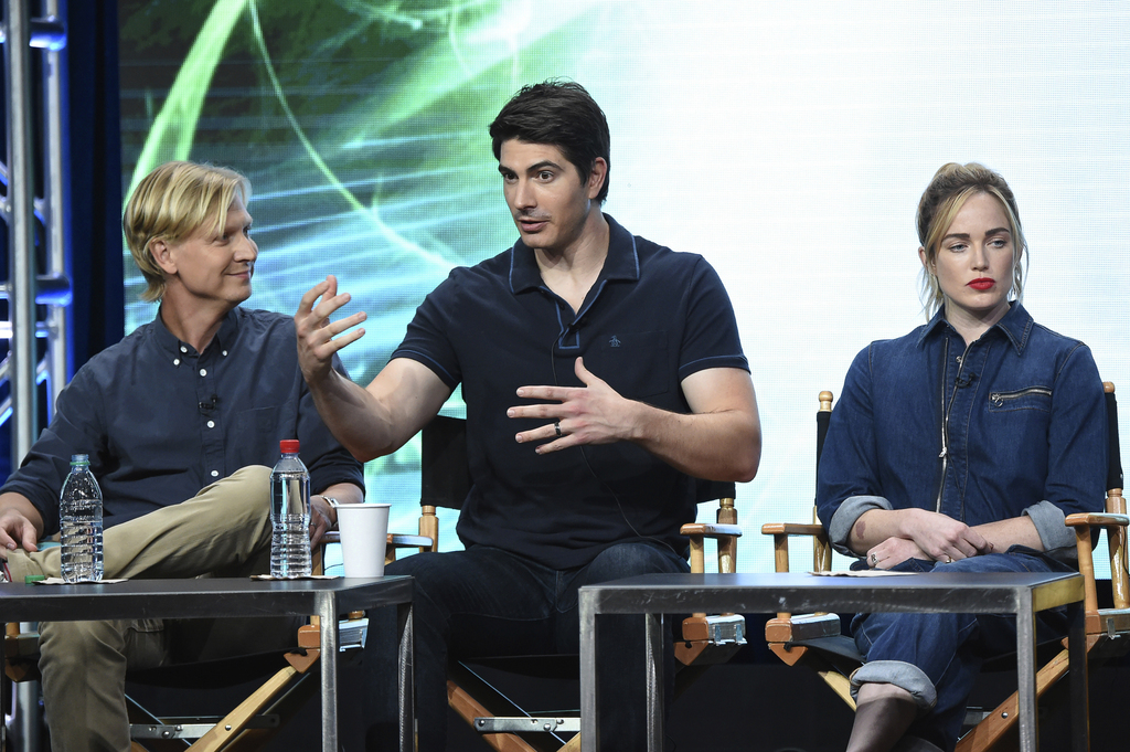 """Phil Klemmer, from left, Brandon Routh, Caity Lotz participate in the """"DC's Legends of Tomorrow"""" panel during The CW portion of the 2017 Summer TCA's ..."""