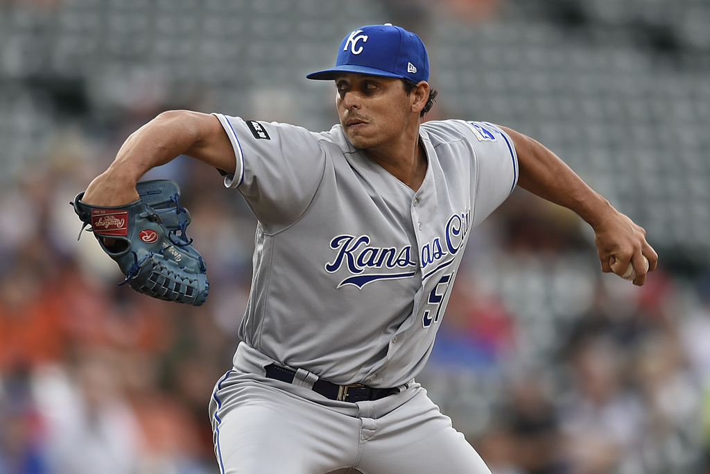 Kansas City Royals pitcher Jason Vargas throws against the Baltimore Orioles in the first inning of a baseball game, Wednesday, Aug. 2, 2017, in Balti...