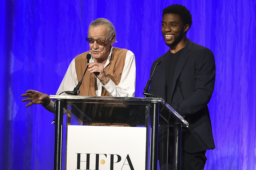 Stan Lee and Chadwick Boseman speak at the Hollywood Foreign Press Association Grants Banquet at the Beverly Wilshire Hotel on Wednesday, Aug. 2, 2017...