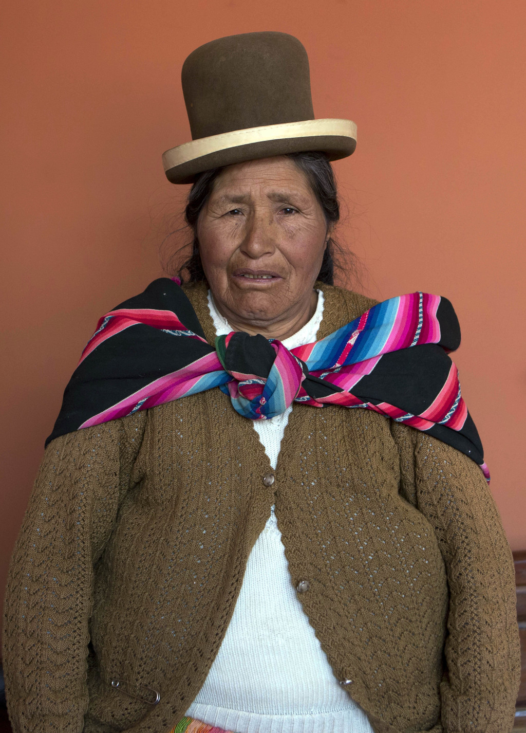 In this May 15, 2017 photo, midwife Ruperta Tola, 67, poses for a portrait at the Nila Heredia hospital in Patacamaya, Bolivia. Tola says she's been a...