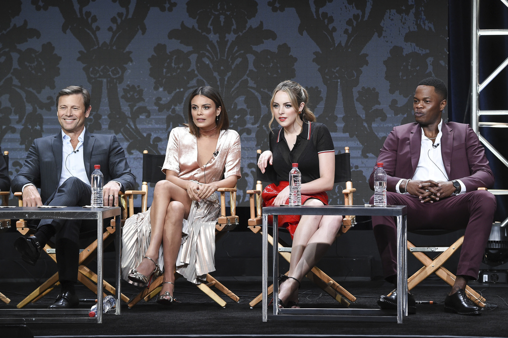 "Grant Show, from left, Nathalie Kelley, Elizabeth Gillies and Sam Adegoke participate in the ""Dynasty"" panel during The CW portion of the 2017 Summer ..."