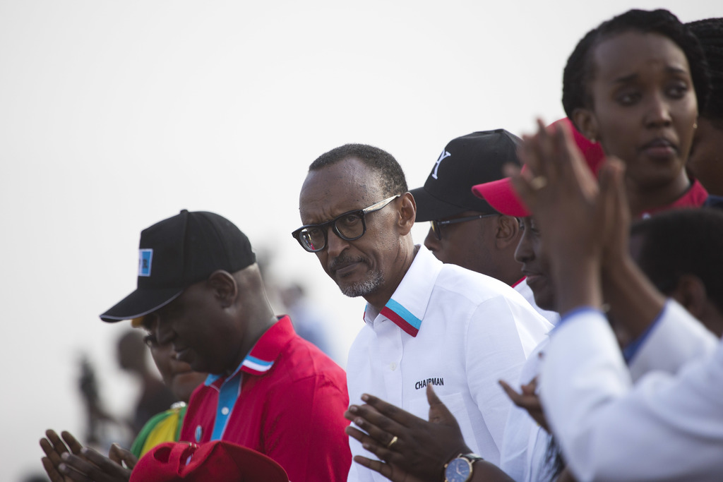 Rwanda's President Paul Kagame attends an election campaign rally on the hills overlooking Kigali, Rwanda, Wednesday Aug. 2, 2017. Kagame has been in ...
