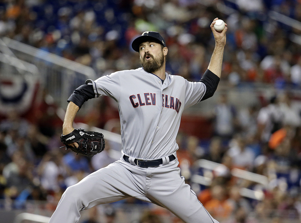 FILE - In this Tuesday, July 11, 2017 file photo, American League's Cleveland Indians pitcher Andrew Miller throws a pitch, during the MLB baseball Al...