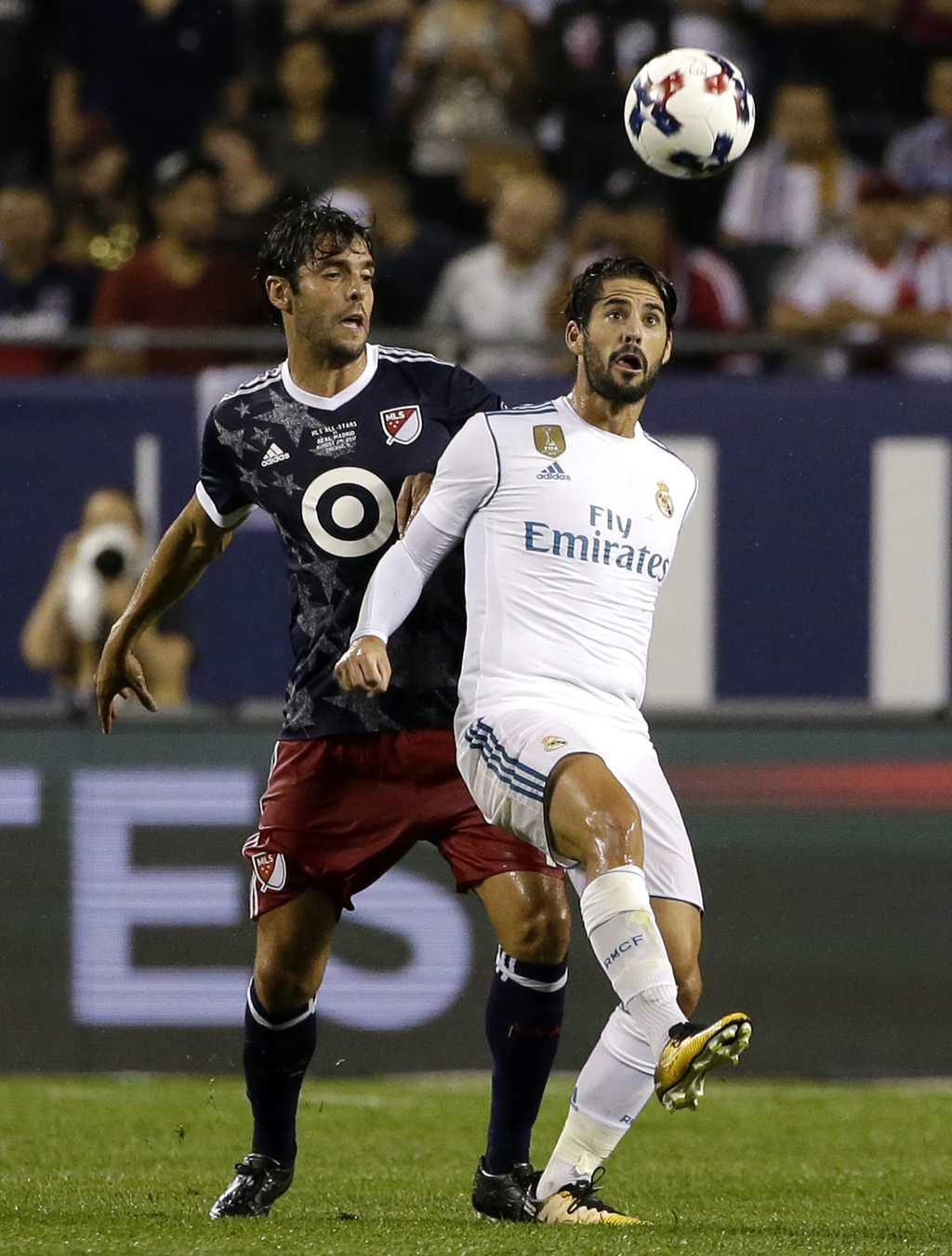 Real Madrid's Isco, right, controls the ball against MLS All-Stars' Kaka during the first half of the MLS All-Star Game, Wednesday, Aug. 2, 2017, in C...