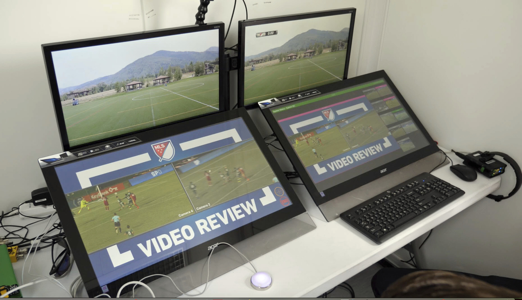 In this July 11, 2017, still image from video, video review screens are shown before a video replay scrimmage, in Park City, Utah. Games were staged a...
