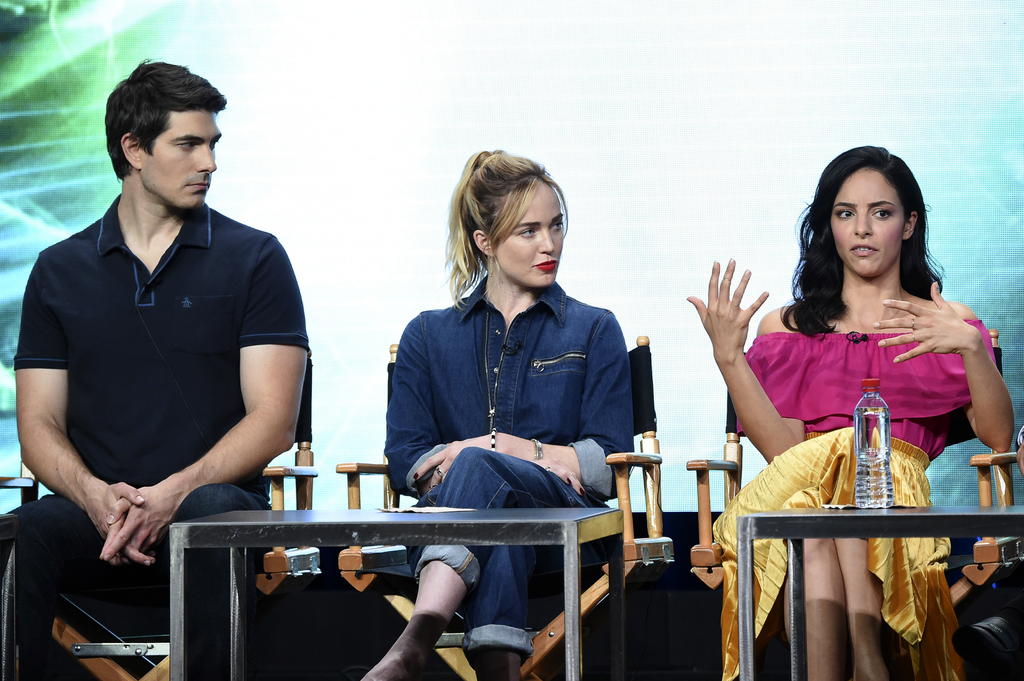 """Brandon Routh, from left, Caity Lotz and Tala Ashe participate in the """"DC's Legends of Tomorrow"""" panel during The CW portion of the 2017 Summer TCA's ..."""