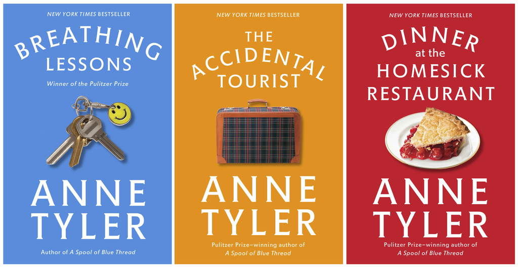 """This combination photo of cover images released by Vintage Books shows, from left, """"Breathing Lessons, """"The Accidental Tourist"""" and """"Dinner at the Hom..."""