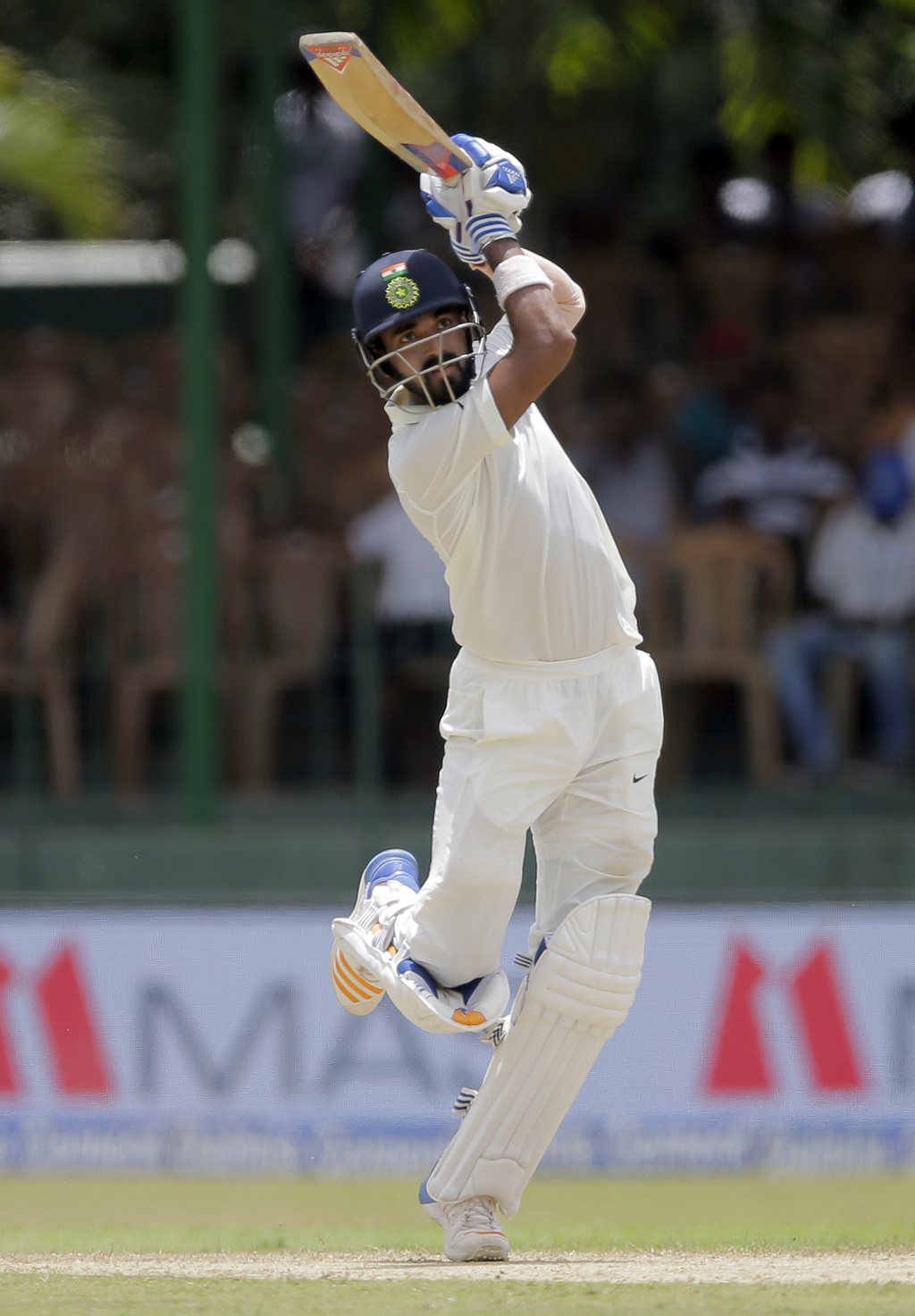 India's Lokesh Rahul watches his shot during their second cricket test match against Sri Lanka in Colombo, Sri Lanka, Thursday, Aug. 3, 2017. (AP Phot...