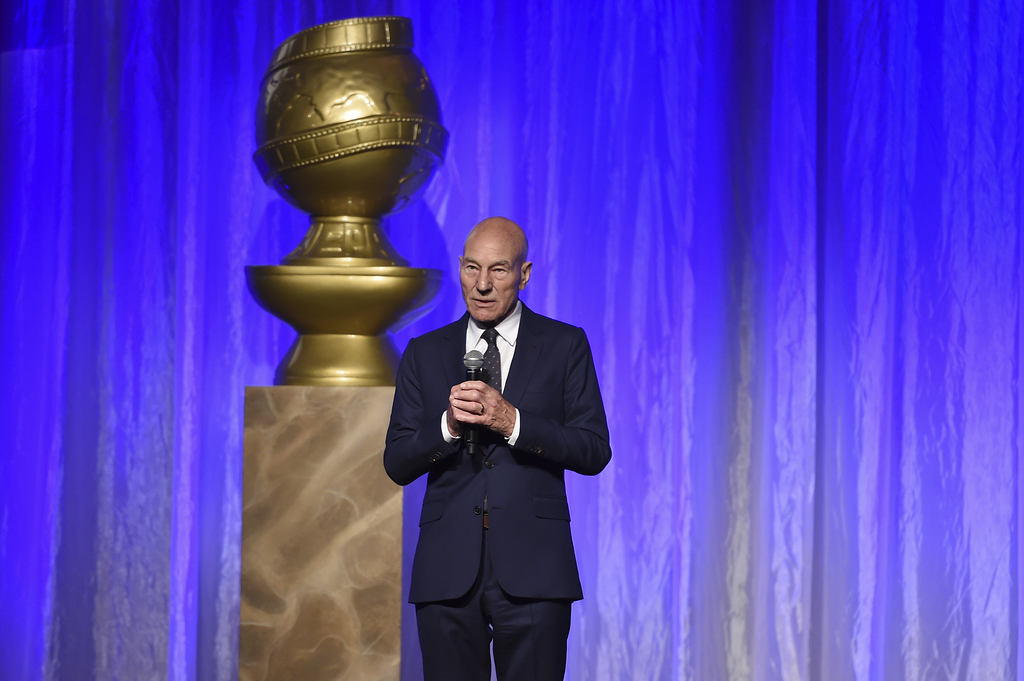 Patrick Stewart speaks at the Hollywood Foreign Press Association Grants Banquet at the Beverly Wilshire Hotel on Wednesday, Aug. 2, 2017, in Beverly ...