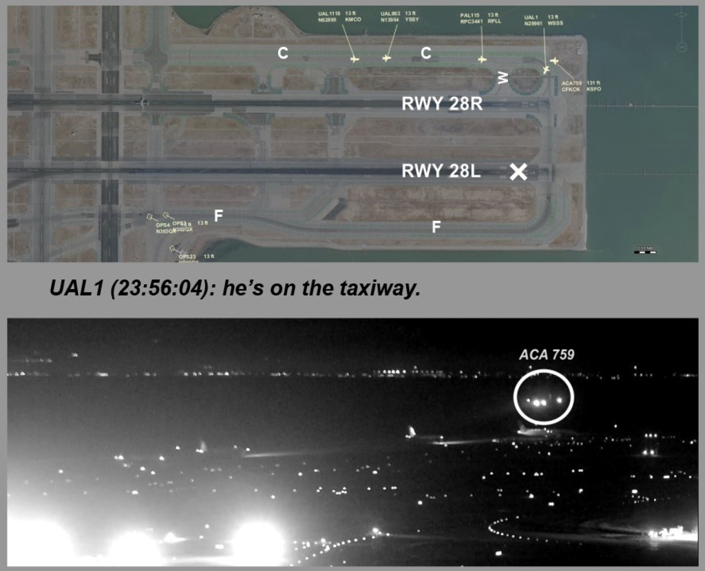 This composite of images released by the National Transportation Safety Board (NTSB) shows Air Canada flight 759 (ACA 759) attempting to land at the S...