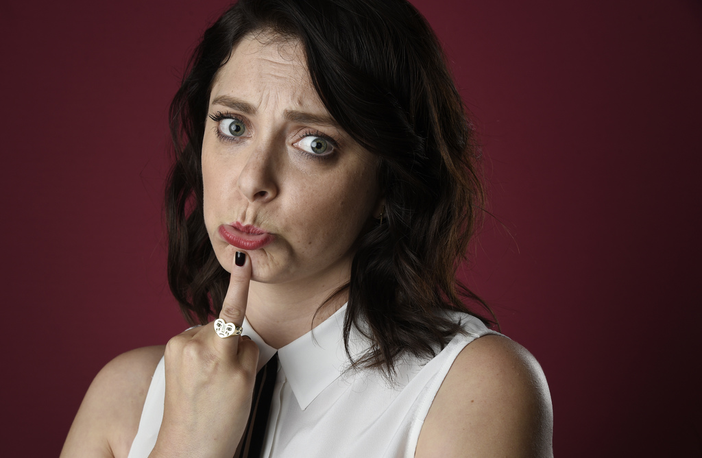 """Rachel Bloom, a cast member in the CW series """"Crazy Ex-Girlfriend,"""" shows off her ring as she poses for a portrait during the 2017 Television Critics ..."""