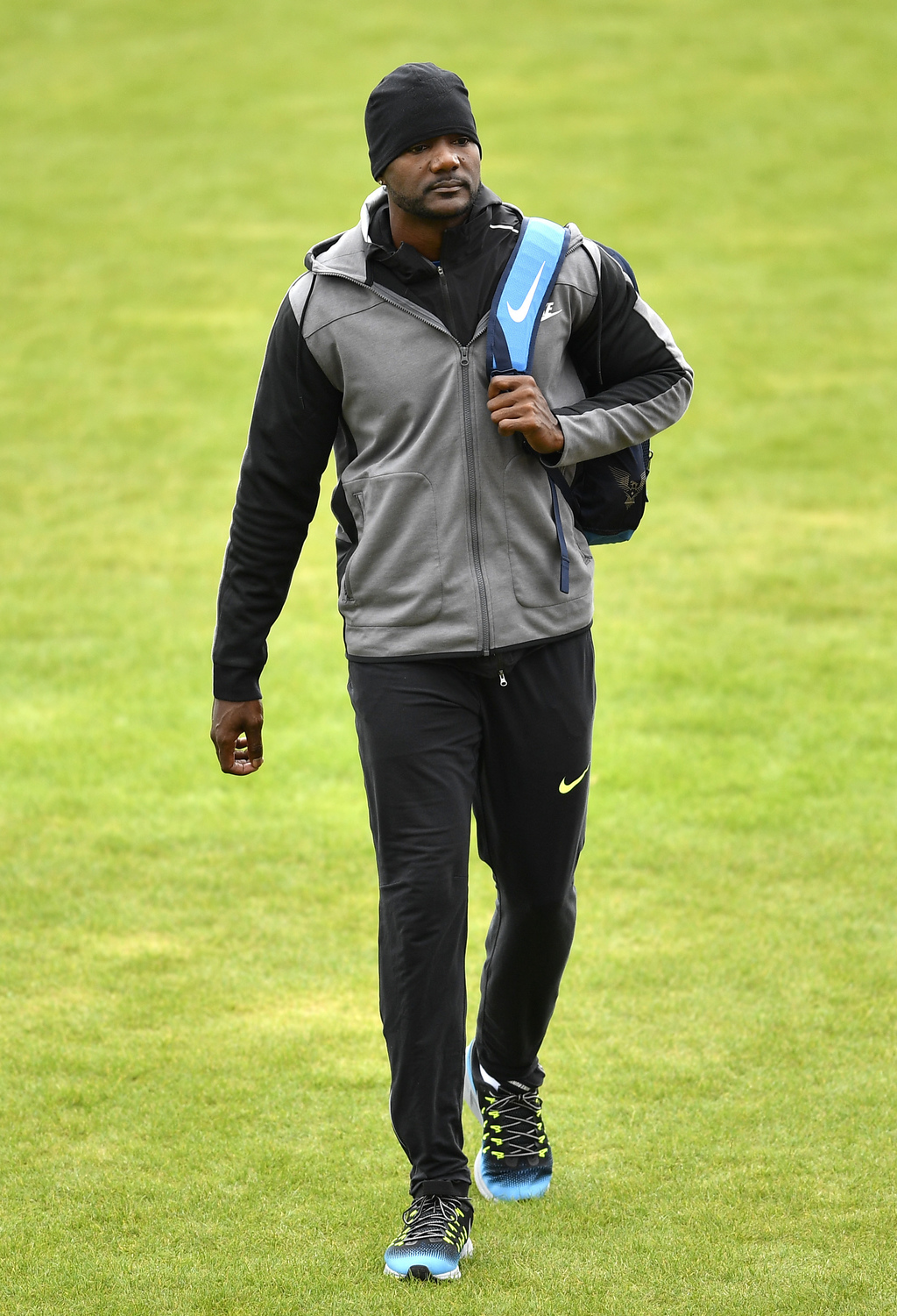 U.S. sprinter Justin Gatlin arrives for a training session ahead of the World Athletics Championships in London Thursday, Aug. 3, 2017. The event star...
