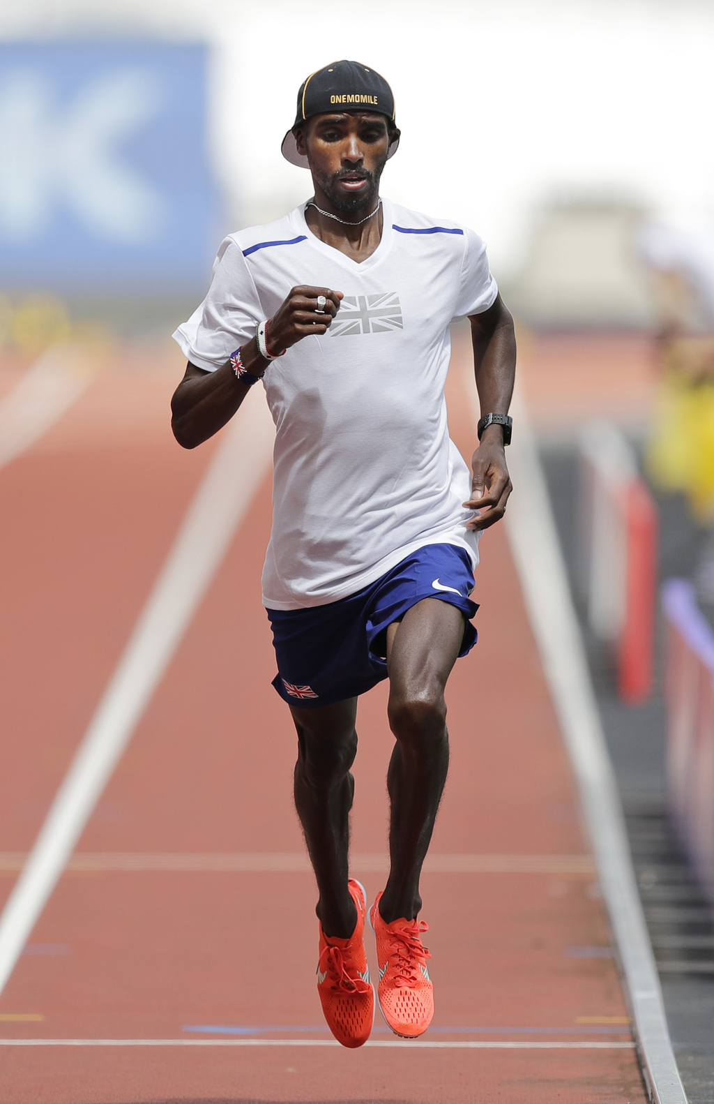 Britain's Mo Farah runs during a training session before the World Athletics Championships in London Thursday, Aug. 3, 2017. (AP Photo/Tim Ireland)