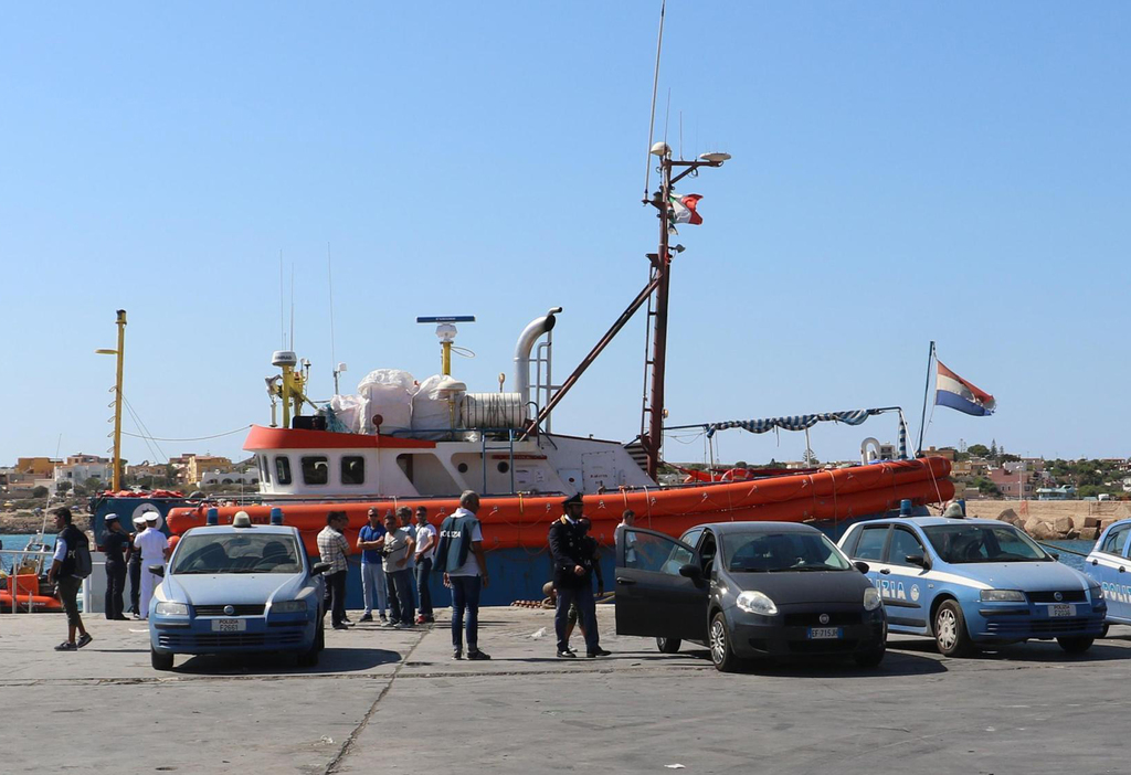 Italian police inspects the Iuventa Ship of the German NGO Jugend Rettet, docked at Lampedusa' harbor, Italy, Thursday, Aug. 3, 2017.  Italian authori...