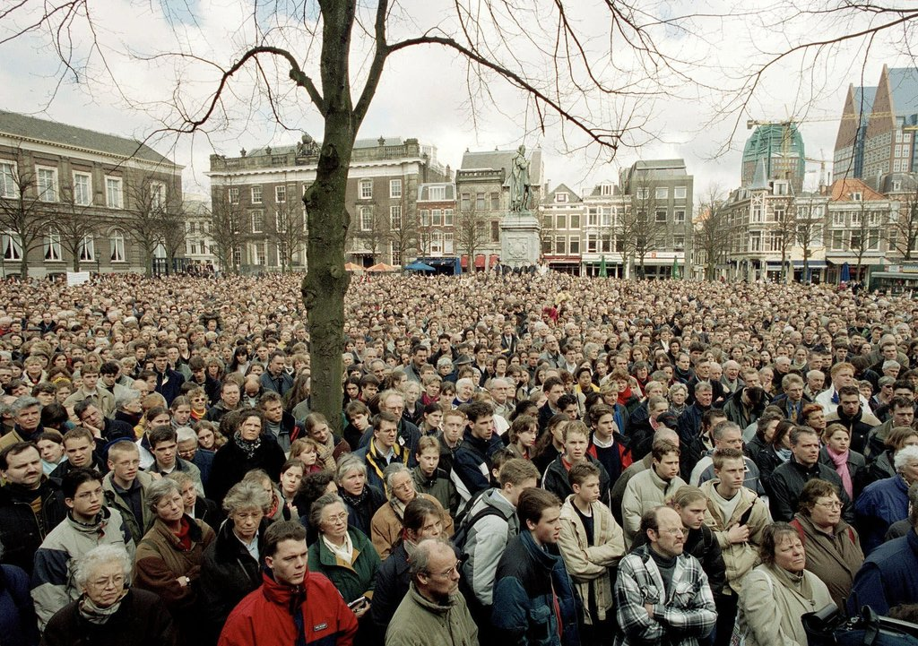FILE - This is a  Tuesday, April 10, 2001, file of thousands of protesters as they  demonstrate outside Dutch government buildings at The Hague, Nethe...