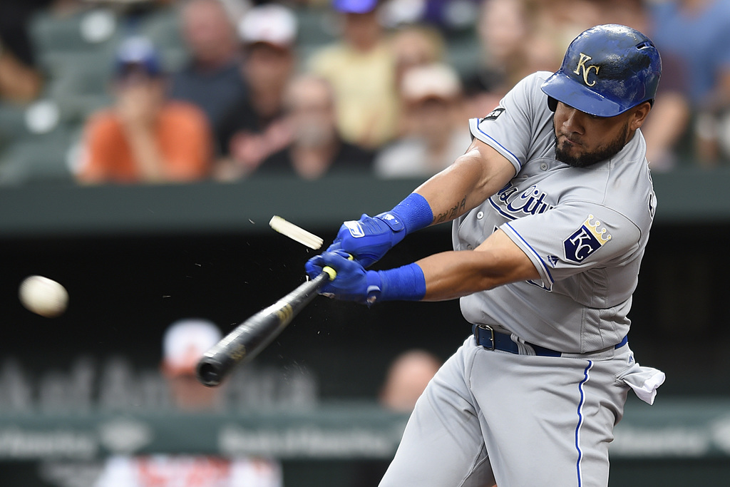 Kansas City Royals' Melkey Cabrera follows through on a broken bat single against the Baltimore Orioles in the first inning of a baseball game, Wednes...