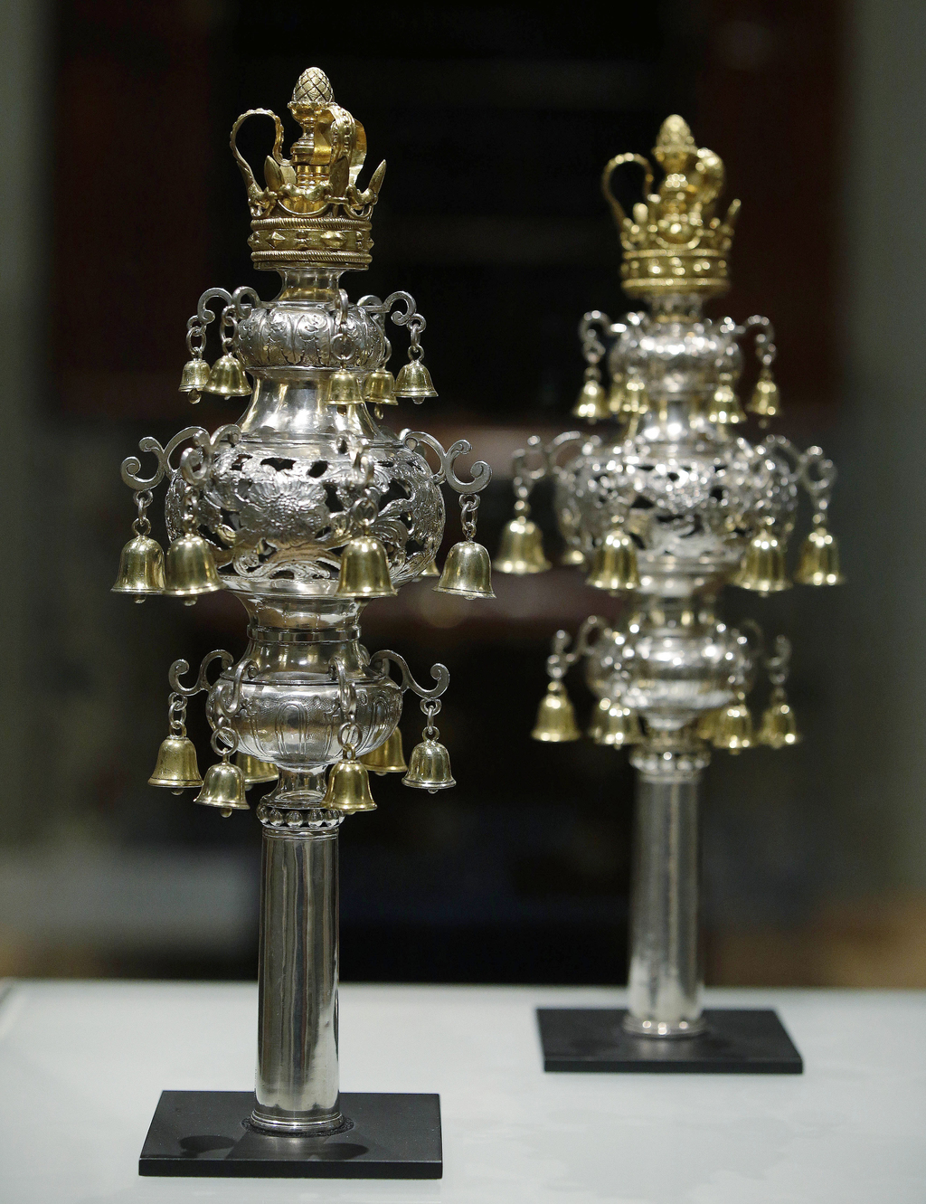 FILE - In this June 1, 2015 file photo, ceremonial bells worth more than $7 million and belonging to the Touro Synagogue in Newport, R.I., are display...