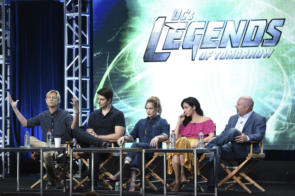 """Phil Klemmer, from left, Brandon Routh, Caity Lotz, Tala Ashe and Marc Guggenheim participates in the """"DC's Legends of Tomorrow"""" panel during The CW p..."""