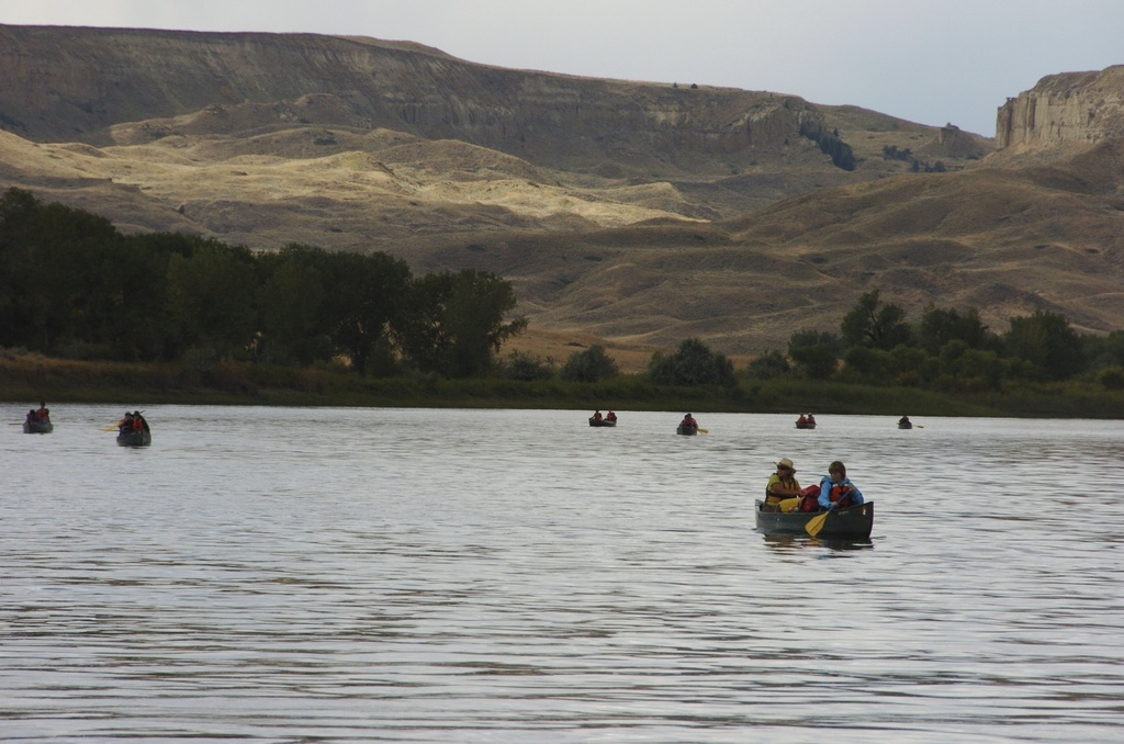 FILE - In this Sept. 19, 2011 file photo, a group canoes through the Upper Missouri River Breaks National Monument near Fort Benton, Mont. Interior Se...