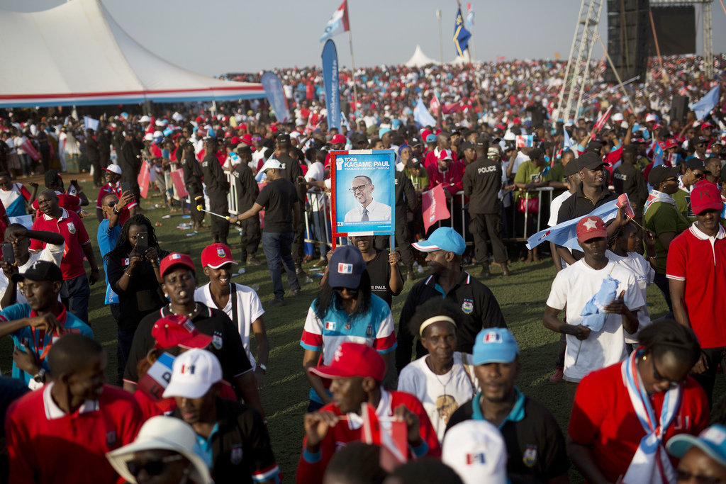 Supporters of Rwanda's President Paul Kagame attend an election campaign rally on the hills overlooking Kigali, Rwanda, Wednesday Aug. 2, 2017. Kagame...