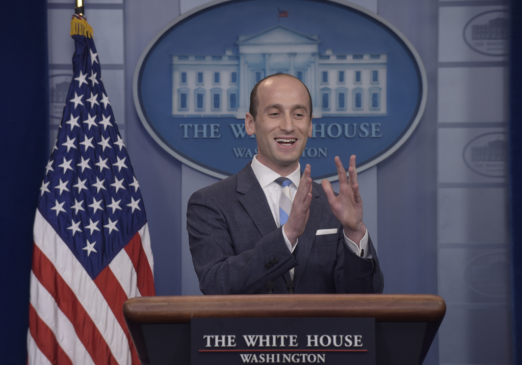 White House senior policy adviser Stephen Miller speaks during the daily briefing at the White House in Washington, Wednesday, Aug. 2, 2017. (AP Photo...