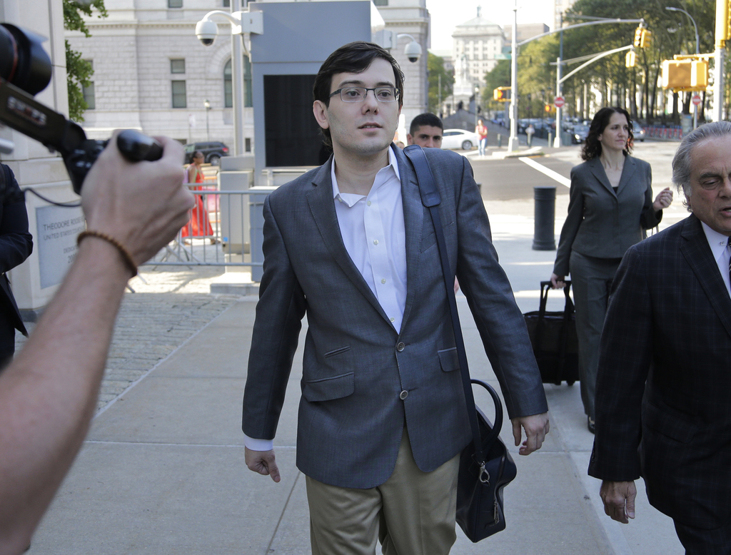 Martin Shkreli arrives at federal court in New York, Thursday, Aug. 3, 2017. Jurors are starting their fourth day of deliberations at the federal secu...