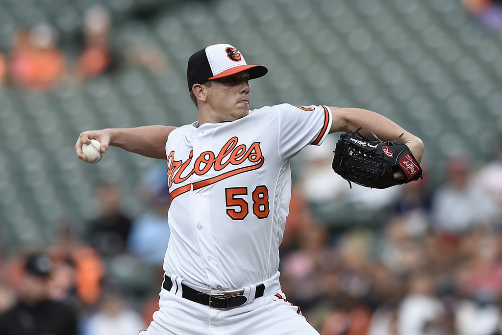 Baltimore Orioles pitcher Jeremy Hellickson delivers against the Kansas City Royals in the first inning of a baseball game, Wednesday, Aug. 2, 2017, i...