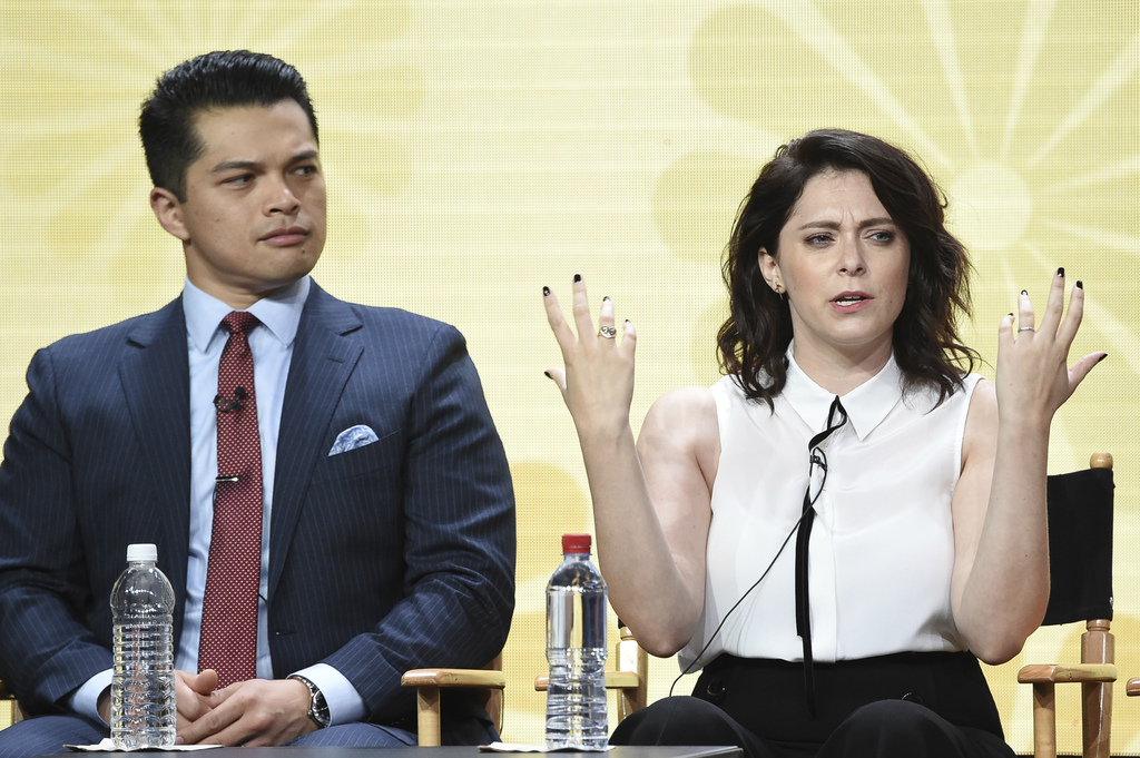 """Vincent Rodriguez III, left, and Rachel Bloom participate in the """"Crazy Ex Girlfriend"""" panel during The CW portion of the 2017 Summer TCA's at the Bev..."""